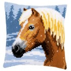 Cross stitch cushion kit Horse & snow