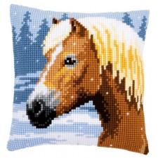 Cross stitch cushion kit Horse & snow