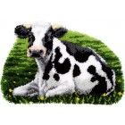 Latch hook shaped rug kit Cow resting
