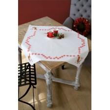 Kerst tafelkleedje Roodborstjes met rode besjes