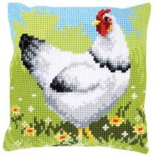 Cross stitch cushion kit White chicken