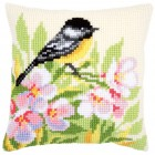 Cross stitch cushion kit Tit & blossoms