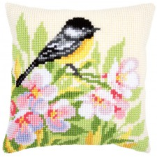 Cross stitch cushion kit Tit & blossoms