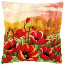 Cross stitch cushion kit Poppy meadow