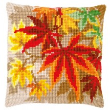 Cross stitch cushion kit Autumn leaves