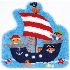 Latch hook shaped rug kit Pirate ship
