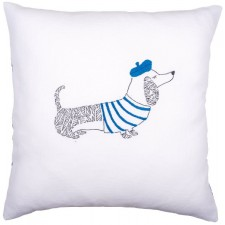 Embroidery cushion kit Dog Paris