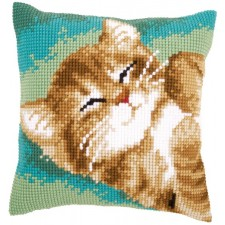 Cross stitch cushion kit Cat