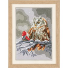 Counted cross stitch kit Owl and gnome