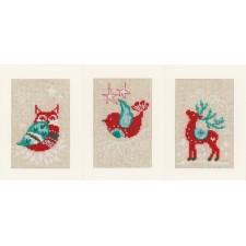 Wenskaarten Winterfiguren set van 3