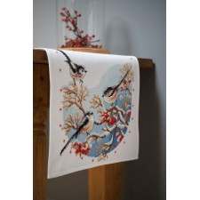 Aida table runner kit Long-tailed tits&red berries