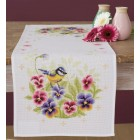 Aida table runner kit Birds & violets