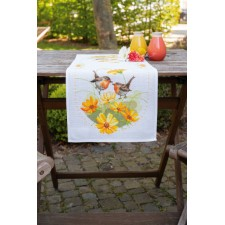 Aida table runner kit Robins & flowers