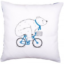 Embroidery cushion kit Cycling bear