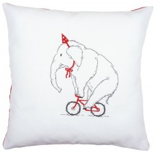 Embroidery cushion kit Elephant on bike