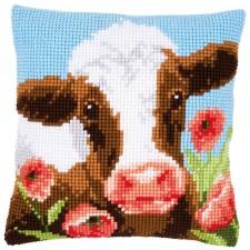 Cross stitch cushion kit Cow in poppy meadow