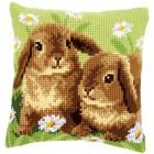 Cross stitch cushion kit Two rabbits