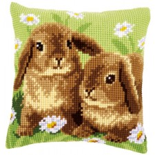 Cross stitch cushion kit Two rabbits