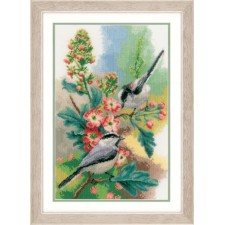 Counted cross stitch kit Chickadees & blossoms