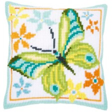 Cross stitch cushion kit Green butterfly