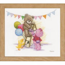 Counted cross stitch kit Popcorn bear birthday