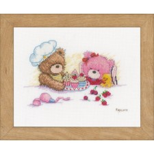 Counted cross stitch kit Popcorn & Brie bear