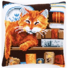 Cross stitch cushion kit Cat and books