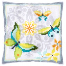 Cross stitch cushion kit Butterflies & flowers