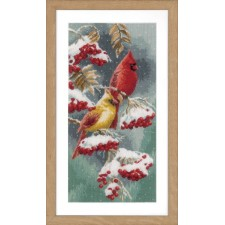 Counted cross stitch kit Scarlet & snow-cardinals