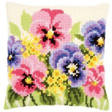 Cross stitch cushion kit Violets