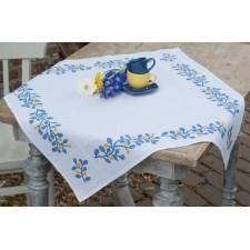 Aida tablecloth kit Blue twigs