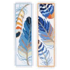 Bookmark kit Blue feathers set of 2
