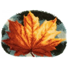 Latch hook shaped rug kit Autumn leaf