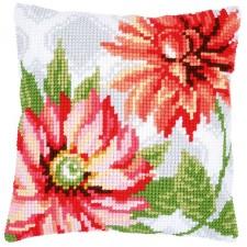 Cross stitch cushion kit Pink flowers