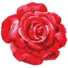 Latch hook shaped rug kit Red rose