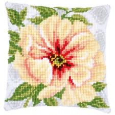 Cross stitch cushion kit Soft orange flower