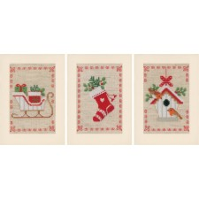 Greeting card kit Christmas motif set of 3