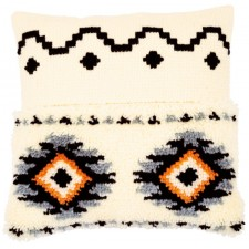 Latch hook & chain stitch cushion kit Ethnic print
