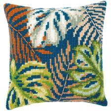 Cross stitch cushion kit Botanical leaves