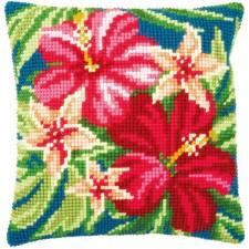 Cross stitch cushion kit Botanical flowers
