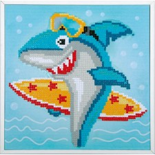 Diamond painting kit Surfing shark