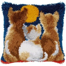 Latch hook cushion kit Cats at night