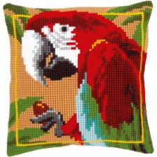 Cross stitch cushion kit Red macaw