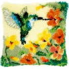 Latch hook cushion kit Hummingbird and flowers