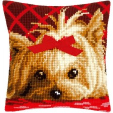 Cross stitch cushion kit Yorkshire with bow