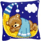 Cross stitch cushion kit Bear on the moon blue