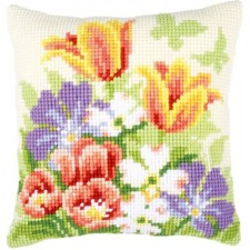 Cross stitch cushion kit Spring flowers