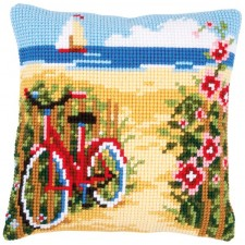 Cross stitch cushion kit At the beach