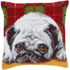 Cross stitch cushion kit Pug-dog