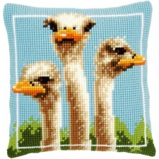 Cross stitch cushion kit Ostriches